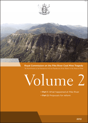 Cover of Volume 2 of the Final Report of the Royal Commission on the Pike River Coal Mine Tragedy